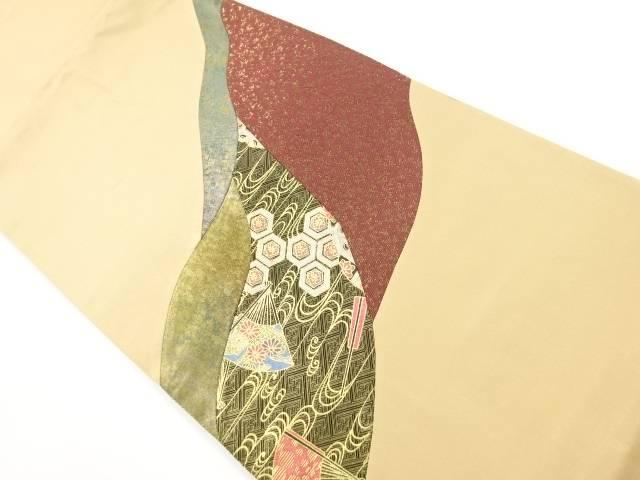 切りばめ流水に花扇模様袋帯【リサイクル】【中古】