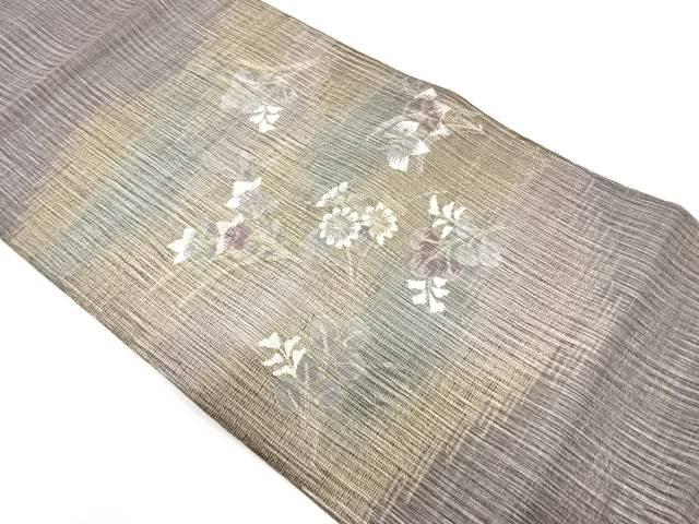 紗 草花模様織出し袋帯【リサイクル】【中古】(natsuk)