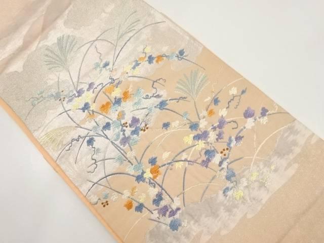 芒に蔦の葉模様織り出し袋帯【リサイクル】【中古】