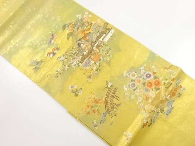本金箔嵯峨の里絵文織り出し袋帯【リサイクル】【中古】