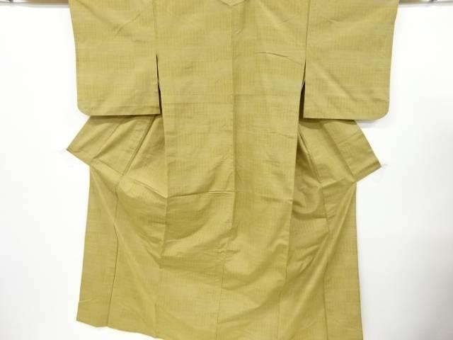 格子織出手織り真綿紬単衣着物【リサイクル】【中古】