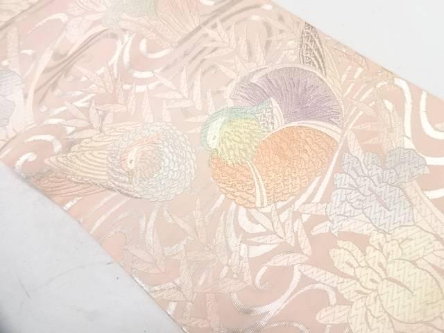唐織鴛鴦に菖蒲模様織出し袋帯【リサイクル】【中古】