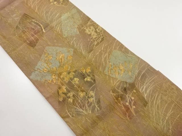 作家物 纐纈色紙に花鳥模様袋帯【リサイクル】【中古】