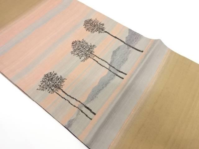 米沢新田 遠山に樹木模様織出し袋帯【リサイクル】【中古】