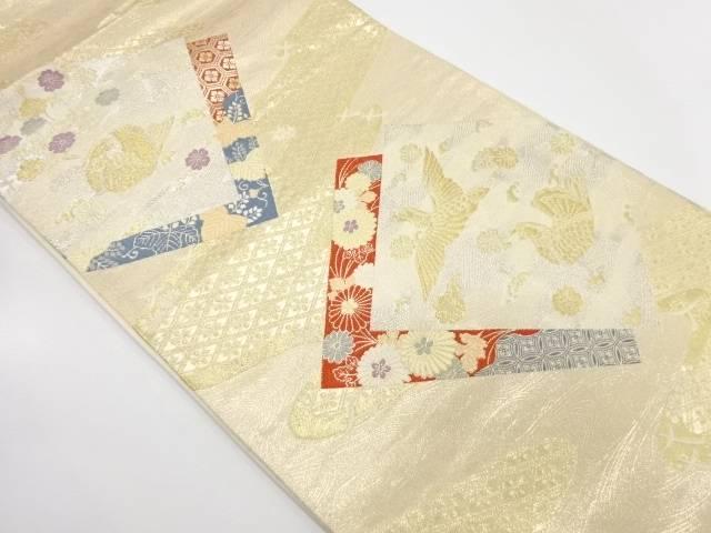 本金二丁箔九百錦重ね色紙に花鳥模様織出し袋帯【リサイクル】【中古】