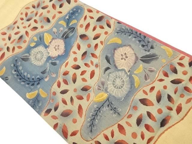 手織り節紬辻ヶ花模様袋帯【リサイクル】【中古】