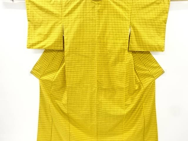 格子織出手織り真綿紬着物【リサイクル】【中古】