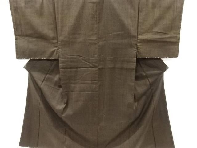 未使用品 格子模様織り出し手織り真綿紬男物着物アンサンブル【リサイクル】【中古】