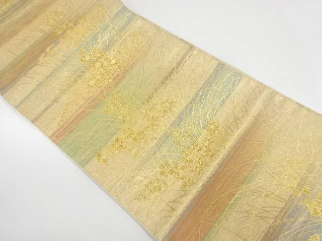 横段に秋草模様織出し袋帯【リサイクル】【中古】