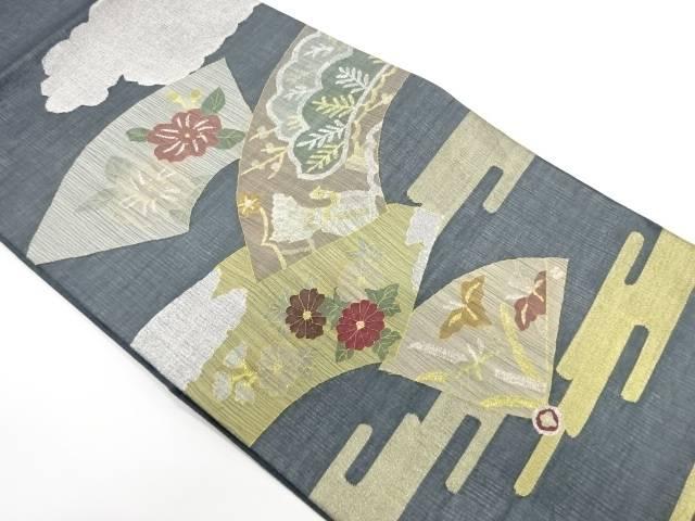 紗 ヱ霞に地紙・花鳥模様織出し袋帯【リサイクル】【中古】(natsuk)