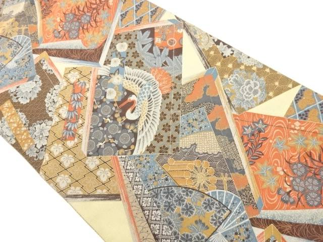 萬葉製 読み本に花鳥模様織り出し全通袋帯【リサイクル】【中古】