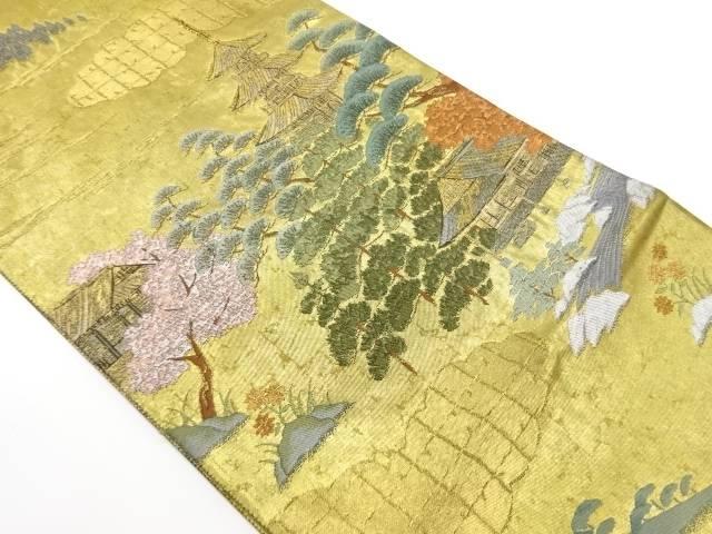 屋敷に松・風景模様織出し袋帯【リサイクル】【中古】