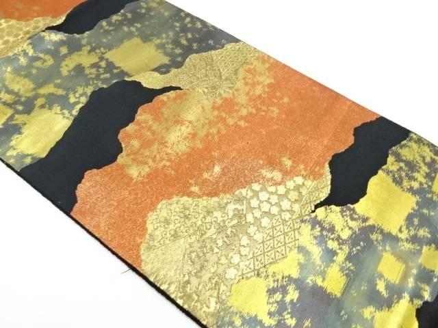 服部織物製 こはく錦道長取に花唐草模様織出し袋帯【リサイクル】【中古】