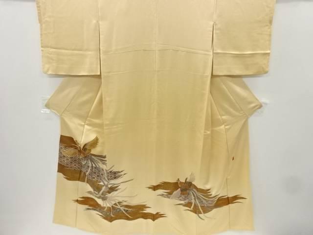 作家物 鳳凰に絣横段模様刺繍一つ紋色留袖【リサイクル】【中古】