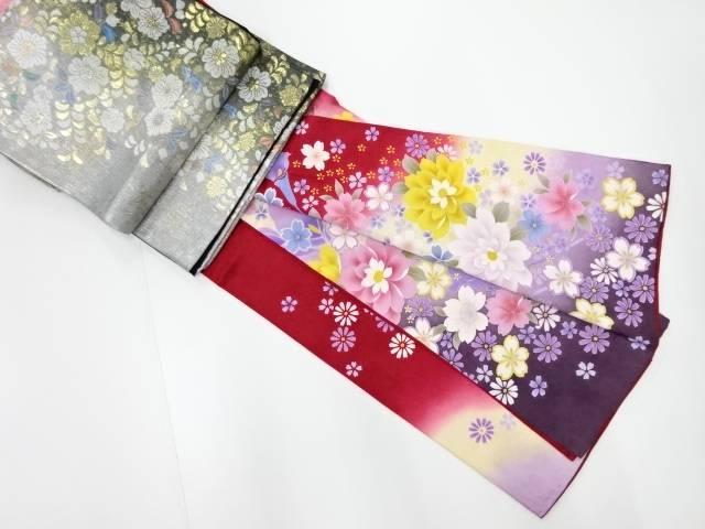 草花模様刺繍訪問着 長襦袢・袋帯セット【リサイクル】【中古】