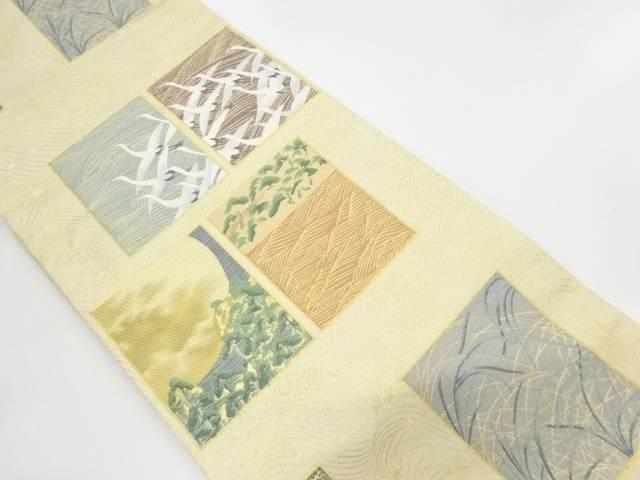 色紙に群鶴松模様織出し袋帯【リサイクル】【中古】