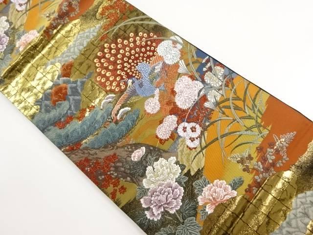 本金箔 孔雀煌花文織り出し袋帯【リサイクル】【中古】