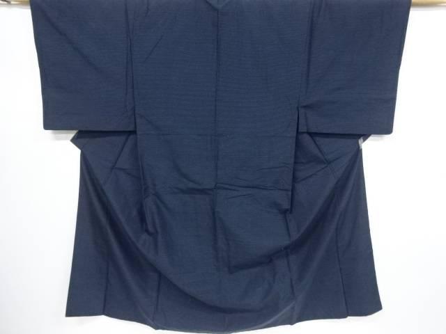横段模様織出手織り紬男物着物アンサンブル【リサイクル】【中古】