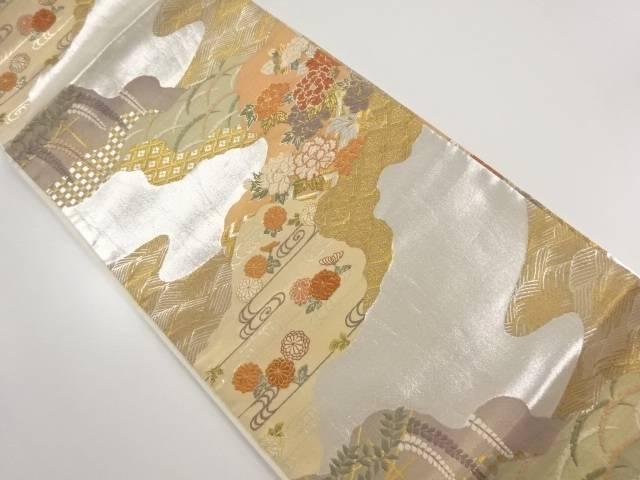 道長取りに花・古典柄織り出し袋帯【リサイクル】【中古】