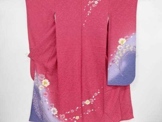 八重桜に藤模様刺繍振袖・長襦袢・袋帯・和装小物・SAGAFOXショールセット【リサイクル】【中古】