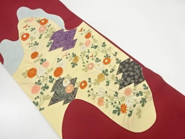 銀座きしや 塩瀬松皮菱に菊模様刺繍袋帯【リサイクル】【中古】