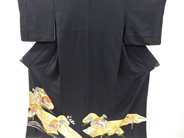 金彩橋・笠松に平安人物模様刺繍留袖(内袖付き)【リサイクル】【中古】