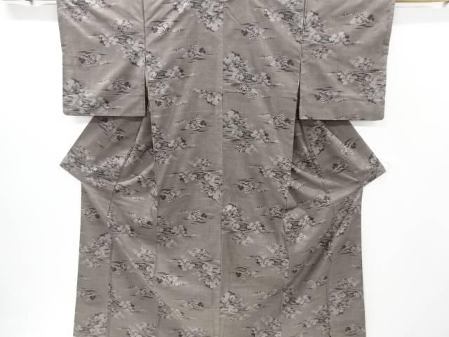 橋に寺塔樹木模様織り出し本場泥大島紬着物(9マルキ)【リサイクル】【中古】