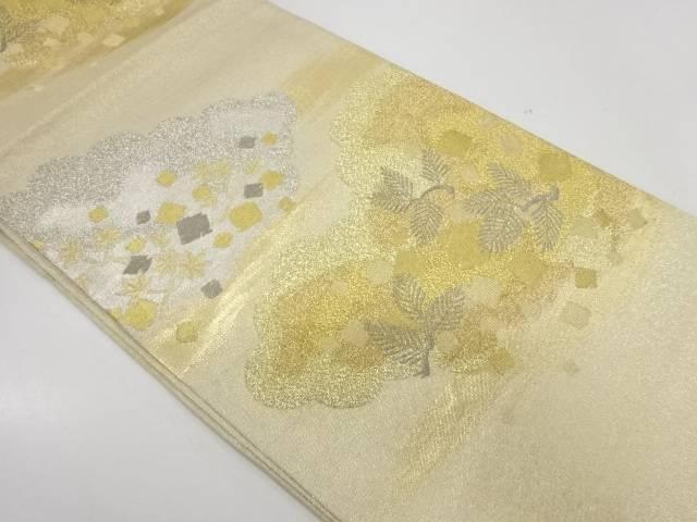 【合計1万円以上の購入で送料無料】  プラチナ箔明綴れ色紙散らしに松・楓模様織出し袋帯【リサイクル】【中古】