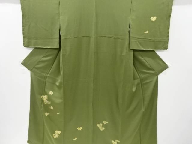 箔置き蔦の葉に草花模様刺繍訪問着【リサイクル】【中古】