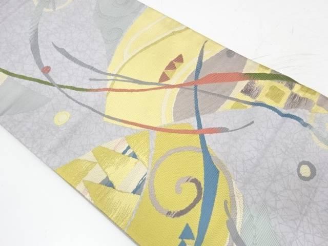唐草に抽象模様織出し袋帯【リサイクル】【中古】