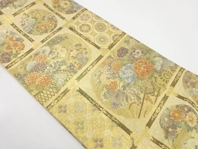 格天井に花模様織出し袋帯【リサイクル】【中古】
