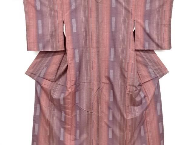 未使用品 仕立て上がり 三代目市三郎 縞模様織り出し手織り真綿紬着物