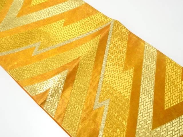 河合美術織物製 抽象松皮菱模様織出し袋帯【リサイクル】【中古】