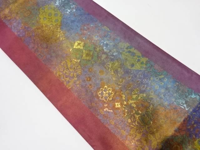 金彩草花模様袋帯【リサイクル】【中古】