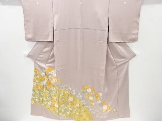 蛇籠に菊模様刺繍三つ紋色留袖【リサイクル】【中古】