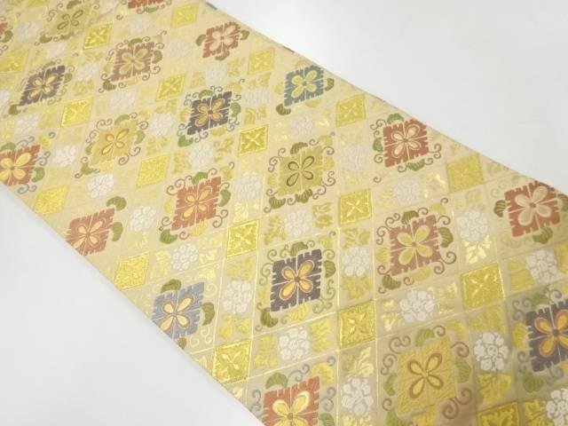 渡文製 襷に花唐草模様織出しリバーシブル袋帯【リサイクル】【中古】