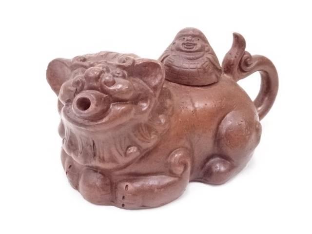 王姜勤製 朱泥獅子形急須
