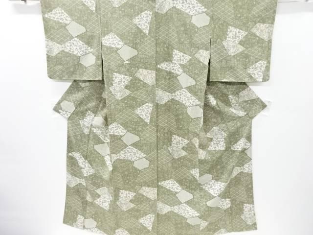 未使用品 仕立て上がり 石畳に葵模様小紋着物