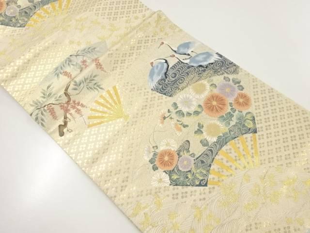 扇に鶴・花模様織出し袋帯【リサイクル】【中古】