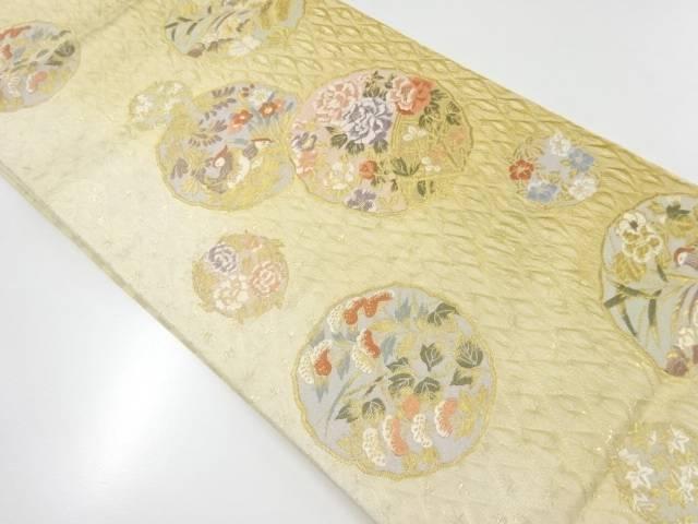 本金すくい織花鳥模様織出し袋帯【リサイクル】【中古】