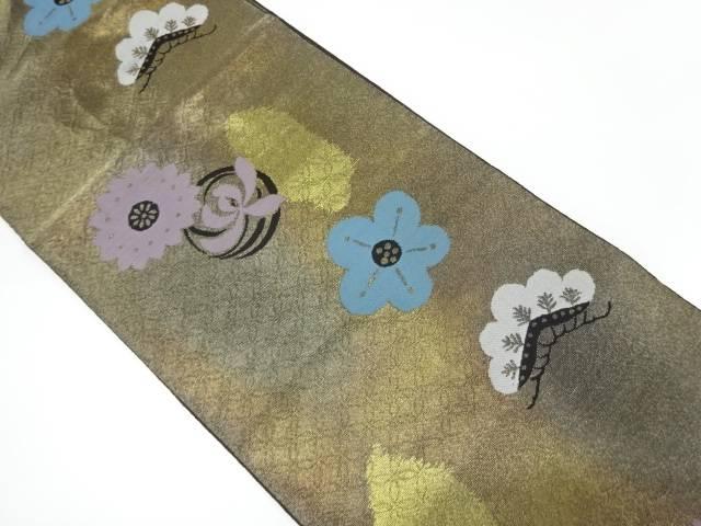 服部織物製 こはく錦松梅に草花模様織出し袋帯【リサイクル】【中古】