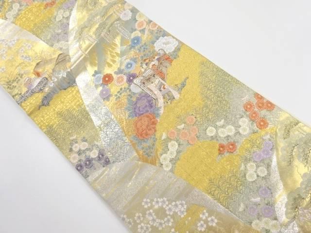 未使用品 本金箔 遠山に四季草花・鴛鴦模様織り出し袋帯【リサイクル】【中古】
