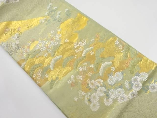 金糸 遠山に桜・笠松模様織り出し袋帯【リサイクル】【中古】