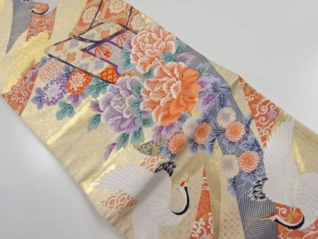 本金 熨斗花鶴文織り出し袋帯【リサイクル】【中古】