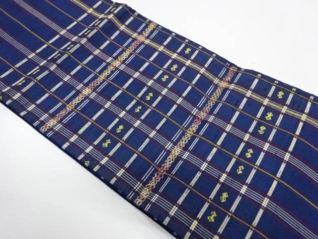 たつむら製 甲比丹縞格子織出し袋帯【リサイクル】【中古】
