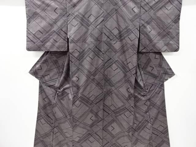 幾何学模様織り出し本場泥大島紬着物(5マルキ)【リサイクル】【中古】