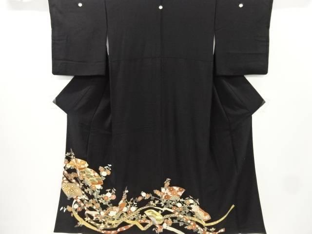 作家物 金彩扇に松菊模様刺繍留袖(比翼付き)【リサイクル】【中古】
