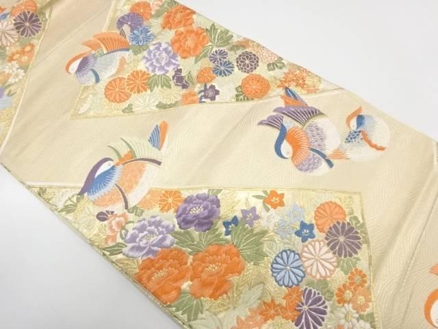 岡文織物製 双鳥錦波文織出し袋帯【リサイクル】【中古】