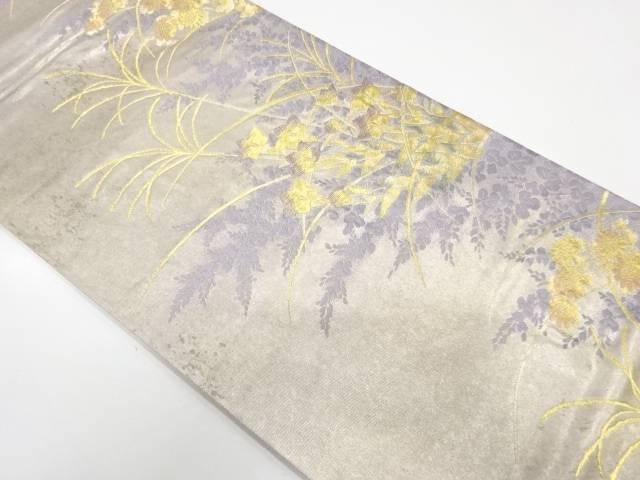 じゅらく製 草花模様織出し袋帯【リサイクル】【中古】
