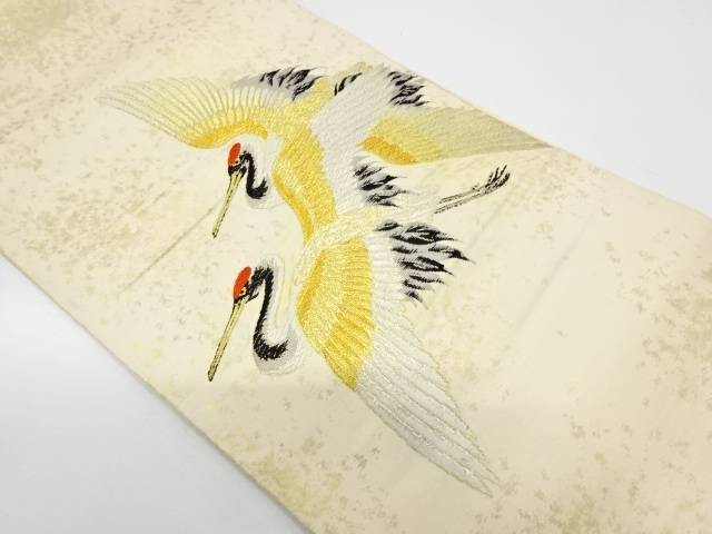 双鶴模様織出し袋帯【リサイクル】【中古】